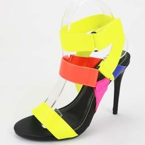 Shoes - Neon Multi Colored Heels